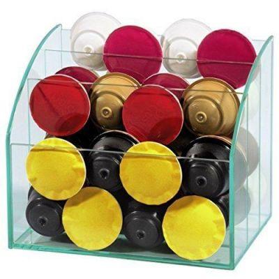Xavax 00111068 Glas-Organizer zum Aufbewahren von Kaffeekapseln und Zubehör