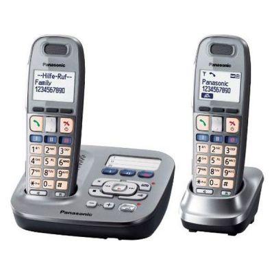 Panasonic KX-TG6592 Duo schnurloses Festnetztelefon (analog) mit AB, graphit