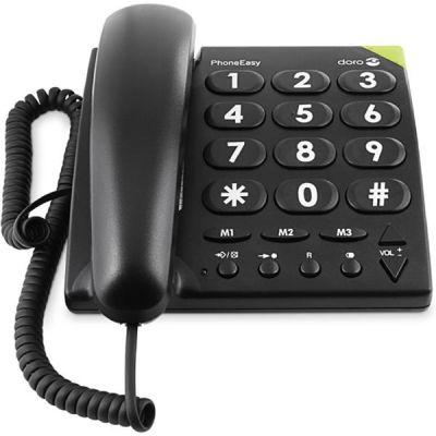 Doro PhoneEasy 311c schnurgebundenes Großtastentelefon (anaolg), schwarz