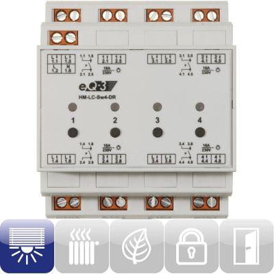 91836 Funk-Schaltaktor 4-fach Hutschienenmontage HM-LC-Sw4-DR