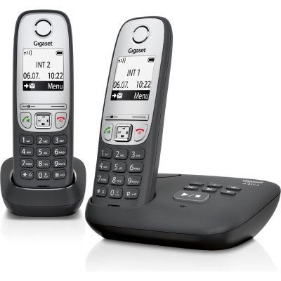 Gigaset A 415 A Duo Schnurlostelefon mit Anrufbeantworter schwarz