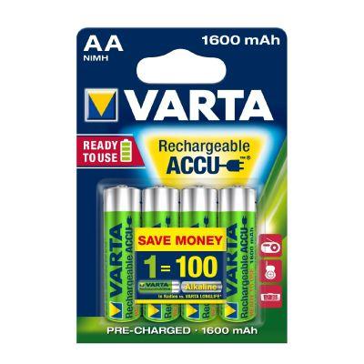 Varta 1x4  Rechargeable Accu AA Ready2Use NiMH 1600 mAh Mignon