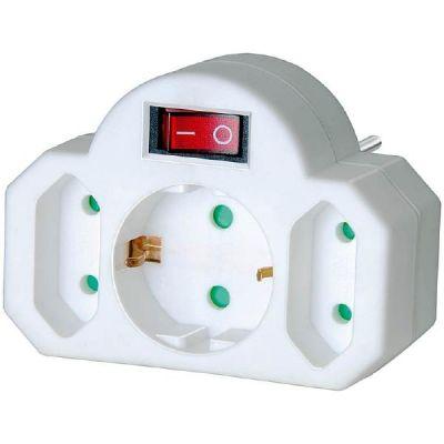 Brennenstuhl Adapterstecker Euro 2+Schutzkontakt 1 mit Schalter, Steckdosenadapter