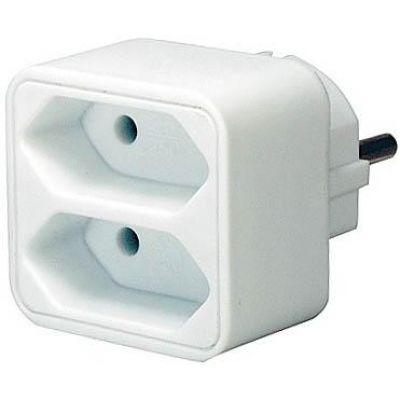 Adapterstecker auf 2 Euro-Steckdosen weiß