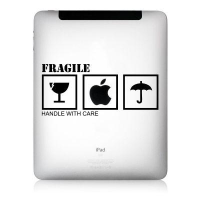 Apfelkleber Fragile Aufkleber-Folie für iPad schwarz