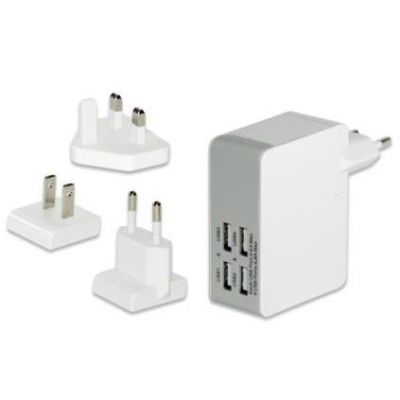 Ednet Universelles Reise-Ladegerät (EU/UK/US) 4x USB-Ports - Preisvergleich