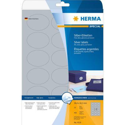 HERMA 4116 Etiketten A4 58,4x42,3 mm silber oval Folie glänzend 450 St. - Preisvergleich