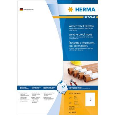 HERMA 4379 Etiketten 210x297 mm weiß extrem stark haftend Papier imprägn. 100Stk - Preisvergleich