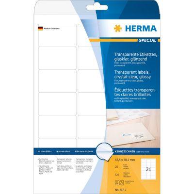 HERMA 8017 A4 Etiketten transparent glasklar 63,5x38,1mm 525Stk glänzend - Preisvergleich