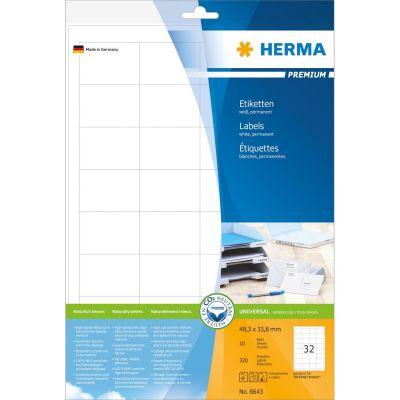 HERMA 8643 Etiketten Premium A4 48,3x33,8 mm weiß Papier matt 320 St. - Preisvergleich