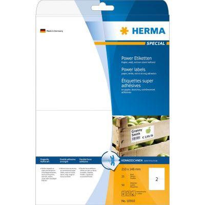 HERMA 10910 Etiketten A4 210x148 mm weiß extrem stark haftend Papier matt 50 St. - Preisvergleich