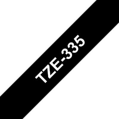 Brother TZe-335 Schriftband 12mm x 8m, weiß auf schwarz, selbstklebend - Preisvergleich