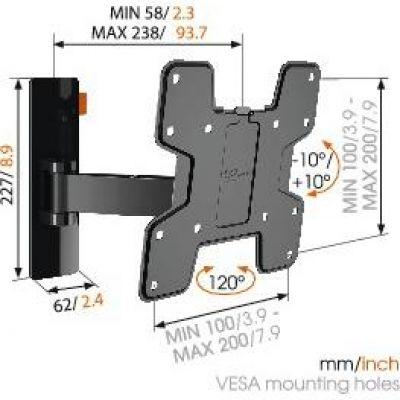 Vogels WALL 2125 Wandhalterung - VESA 100x100 bis 200x200 mm schwarz