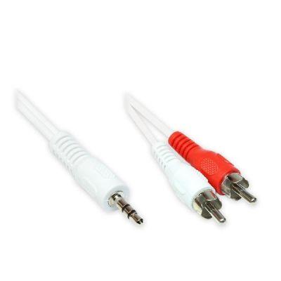 Good Connections  3,5mm Klinke Stecker - 2x Cinch Stecker weiß 3,0m