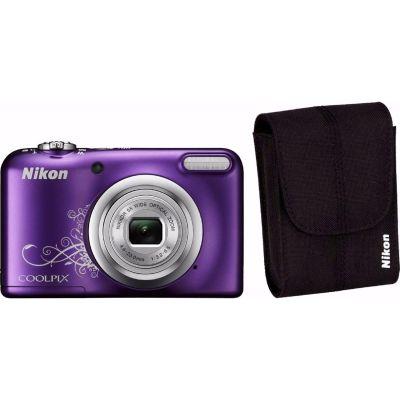 Nikon COOLPIX A10 Digitalkamera Kit violett lineart + Tasche