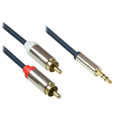 Good Connections  3,5mm Klinkenkabel Stecker - 2x RCA Stecker dunkelblau 5,0m