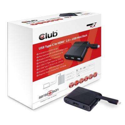 Club 3D 4K USB Typ-C auf HDMI 2.0 + USB 2.0 Mini Dock CSV-1534