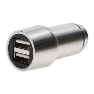 Premium 2-Port USB Autoladeadapter mit Nothammer Funktion silber 84120