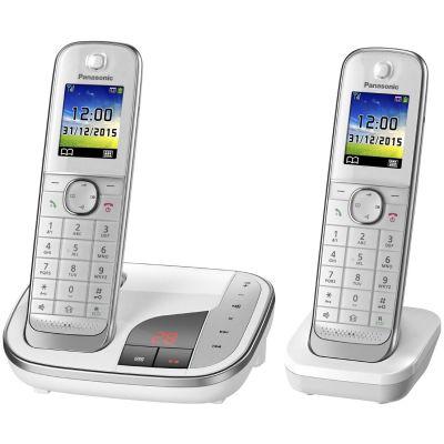 Panasonic KX-TGJ322GW schnurloses Duo DECT Festnetztelefon inkl. AB, weiß