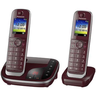 Panasonic KX-TGJ322GR schnurloses Duo DECT Festnetztelefon inkl. AB, weinrot