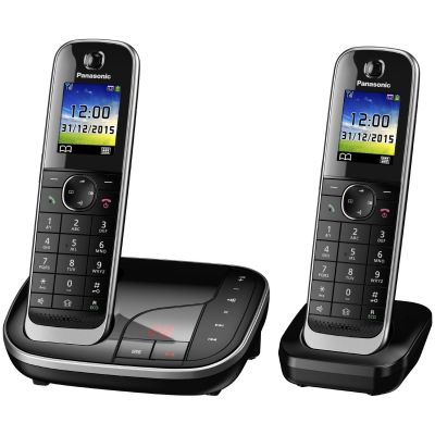 Panasonic KX-TGJ322GB schnurloses Duo DECT Festnetztelefon inkl. AB, schwarz - Preisvergleich