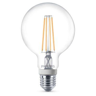 Philips E27 7W 827 LED-Globelampe G95 klar, dimmbar
