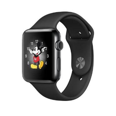 Apple  Watch Series 2 42mm Edelstahlgehäuse Space Schwarz mit Sportarmband Schwarz