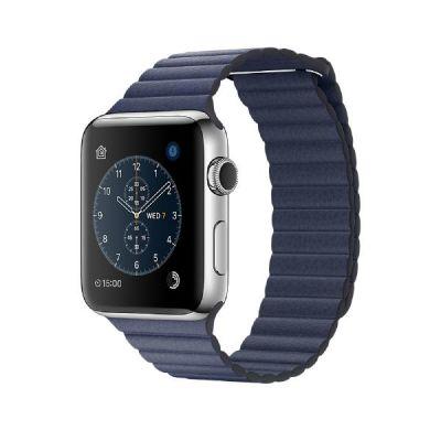 Apple  Watch Series 2 42mm Edelstahlgehäuse Lederarmband Mitternachtsblau Large
