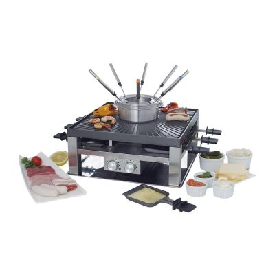 Cyberport Solis 977.21 Combi-Grill 3 in 1 Raclette-, Tischgrill- und Fondue-Set