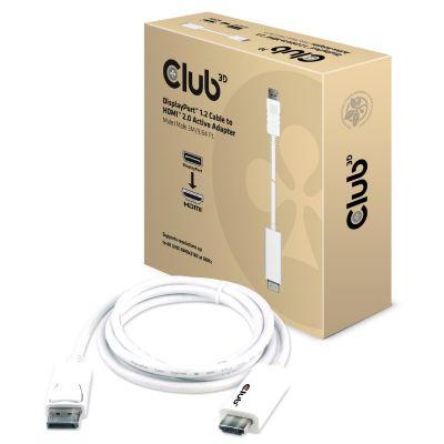 Club 3D DisplayPort 1.2 auf aktiven HDMI 2.0 Adapter 3m UHD 3D weiß CAC-1073