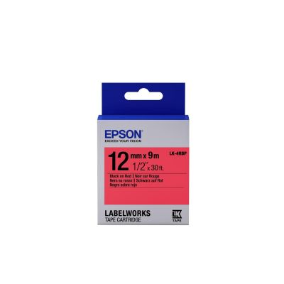 Epson C53S654007 Schriftband LK-4RBP klebend 12mmx9m schwarz auf rot - Preisvergleich