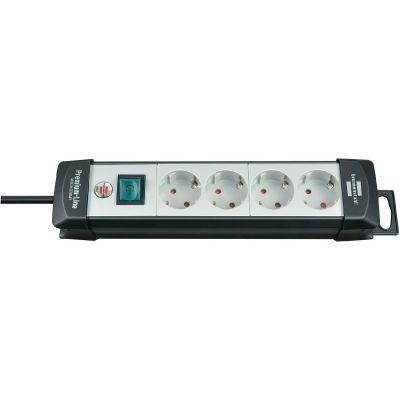 Brennenstuhl Premium-Line Steckdosenleiste 4-fach 5,0m schwarz/grau - Preisvergleich
