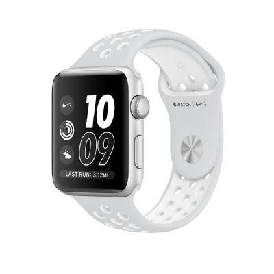 Apple  Watch Nike+ 42mm Aluminiumgehäuse Silber mit Nike Sportarmband weiß
