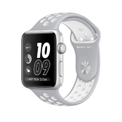 Apple  Watch Nike+ 38mm Aluminiumgehäuse Silber mit Nike Sportarmband Silber/Weiß