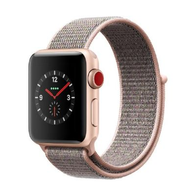 Apple Watch Series 3 LTE 38mm Aluminiumgehäuse Gold mit Sport Loop Sandrosa