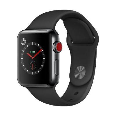Apple Watch Series 3 LTE 38mm Edelstahlgehäuse SpaceSchwarz Sportarmband Schwarz