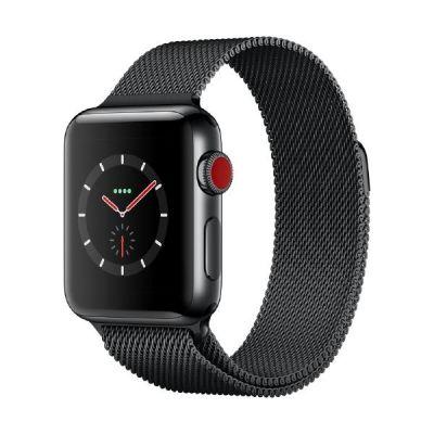 Apple Watch Series 3 LTE 38mm Edelstahlgehäuse Space Schwarz Milanaise Schwarz