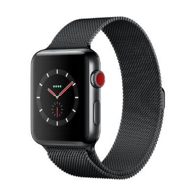 Apple Watch Series 3 LTE 42mm Edelstahlgehäuse Space Schwarz Milanaise Schwarz