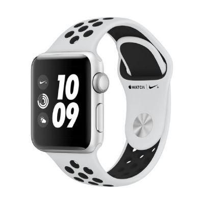 Apple Watch Nike GPS 38mm Aluminiumgehäuse Silber Sportarmband Platinum Schwarz