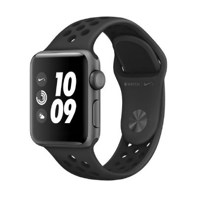 Apple Watch Nike GPS 38mm Aluminiumgehäuse Space Grau Nike Sportarmband Schwarz