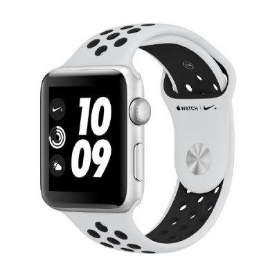 Apple Watch Nike GPS 42mm Aluminiumgehäuse Silber Sportarmband Platinum Schwarz