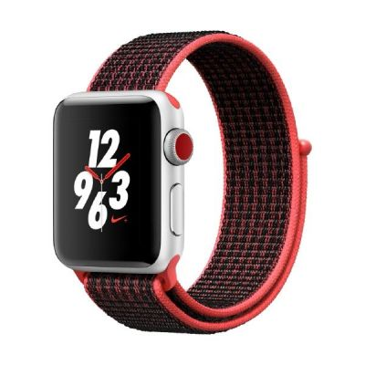 Apple Watch Nike LTE 38mm Aluminiumgehäuse Silber Sport Loop Crimson Schwarz