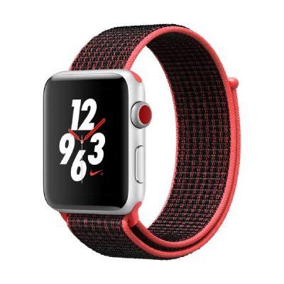 Apple Watch Nike LTE 42mm Aluminiumgehäuse Silber Sport Loop Crimson Schwarz