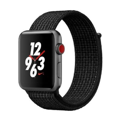 Apple Watch Nike LTE 42mm Aluminiumgehäuse Grau Sport Loop Platinum Schwarz