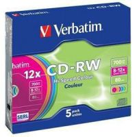 Verbatim CD-RW 8-10x 80Min 700MB 5er Slim Case