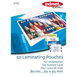 Ednet 50 Laminating Pouches Business Card 80 mic. (60x95mm)  Bild0