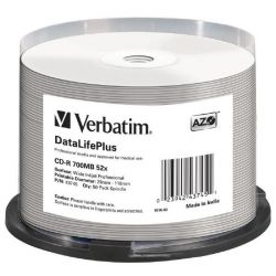 Verbatim 52x CD-R AZO Professional Wide Printable No-ID 700MB 50er Spindel Bild0