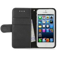 "StilGut ""Talis"" Book Wallet Ledertasche für iPhone SE/5/5s schwarz"