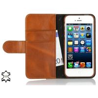 "StilGut ""Talis"" Book Wallet Ledertasche für iPhone SE/5/5s cognac braun"