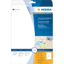 HERMA 4375 Etiketten transparent matt A4 210x297 mm Folie 25 St.  Bild0